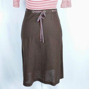 bcbgmaxazria Skirt Linen Blend A-Line Brown Sz 8